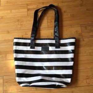 Sephora black and white striped tote bag